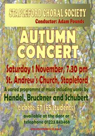 Autumn Concert (performed by Stapleford Choral Society) poster