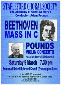 Beethoven Mass in C and Pounds Violin Concerto (performed by Stapleford Choral Society) poster
