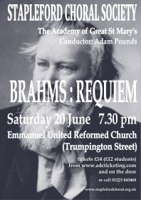 Brahms Requiem (performed by Stapleford Choral Society) poster