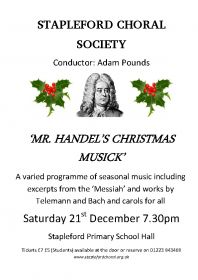 Mr. Handel's Christmas Musick (performed by Stapleford Choral Society) poster
