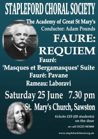 Faure Requiem (performed by Stapleford Choral Society) poster