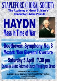 Haydn Mass in Time of War (performed by Stapleford Choral Society) poster