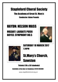 Orchestral concert (performed by Stapleford Choral Society) poster