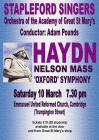 Haydn - Nelson Mass - Oxford Symphony (performed by Stapleford Choral Society) poster