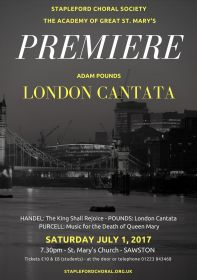 London Cantata Premiere (performed by Stapleford Choral Society) poster