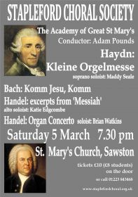 Haydn, Bach and Handel (performed by Stapleford Choral Society) poster