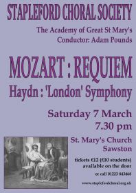 Mozart Requiem (performed by Stapleford Choral Society) poster