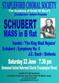 Schubert, Handel and J. C. Bach (performed by Stapleford Choral Society) poster